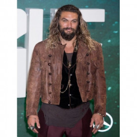 AQUAMAN JUSTICE LEAGUE DISTRESSED BROWN LEATHER JACKET