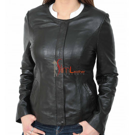 Slim Fit Ladies Real Leather Collarless Jacket For Women
