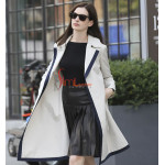 Anne Hathaway The Intern Stylish White Cotton Trench Coat