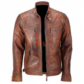 Men's Biker Cafe Racer Quilted Vintage Distressed Motorcycle Classic Diamond Leather Jacket