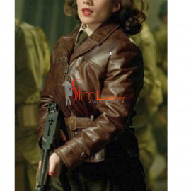 Captain America Hayley Atwell Women Brown Leather Jacket