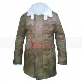 Dark Knight Bane Cow Hide Leather Buffing Brown Trench Coat