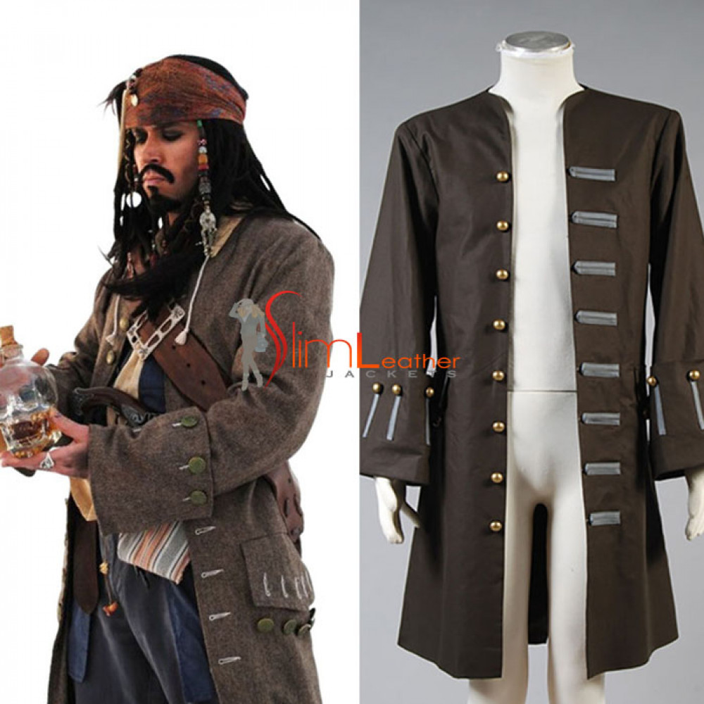 Jack Sparrow Cosplay Costume Cotton Trench Coat