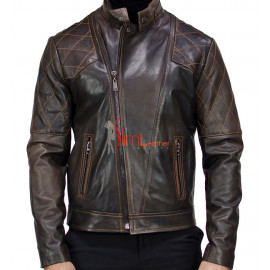 Men's Brown Quilted Moto Lambskin Leather Jacket