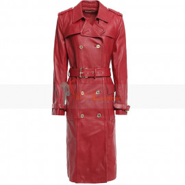 Nina Reeves Cynthia Watros Red Leather Trench Coat
