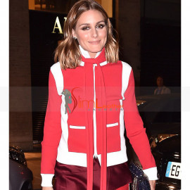 Olivia Palermo Red And White Bomber Fleece Jacket Costume