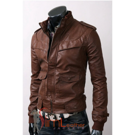Men's Slim Style Brown leather jackets