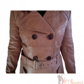 Women Brown Belted Leather long Coat style