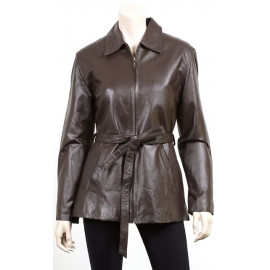 Belted Zipper Front Leather Jacket