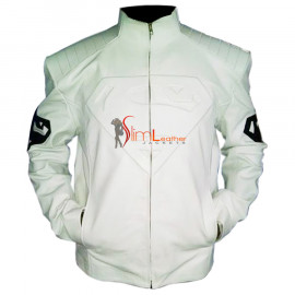 Superman Smallville Clone White Embossed Leather Jacket
